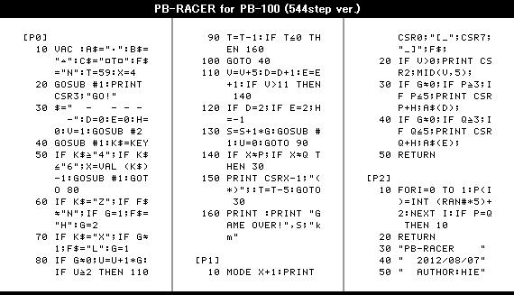PB-RACERのプログラムリスト